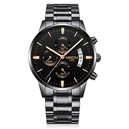 Relojes de pulsera de acero inoxidable con calendario clásico para hombre
