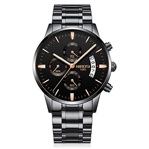 Relojes Hombre Cronógrafo Reloj de Pulsera Calendario con Correa de Acero Inoxidable Elegante, Negro