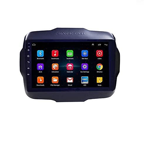 Android 9.0 Car Stereo Radio Sat Nav Compatible con doble Din Jeep Renegade 2016-2018 Navegación GPS Pantalla táctil de 9 pulgadas Unidad principal Reproductor multimedia Receptor de video Wifi Car I