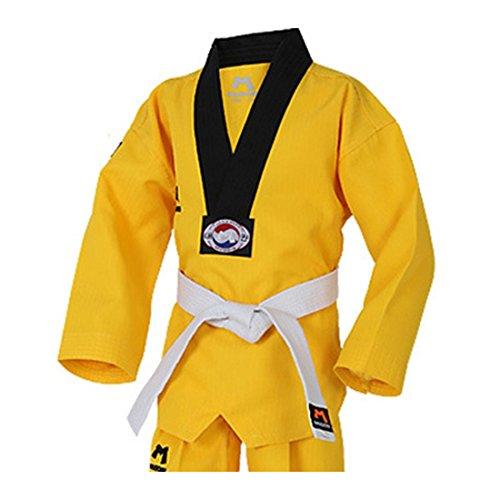 Mudoin Taekwondo Junior Uniforme Artes Marciales akido Hapkido poom School para Hombre 80 (70-80cm) (2.29-2.62ft) Amarillo