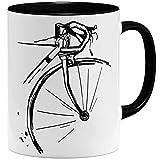 OM3® Retro Fahrrad Radler Bike Rad Tasse   Keramik Becher   11oz 325ml   Fun Bicycle Fahrradfahrer   Schwarz