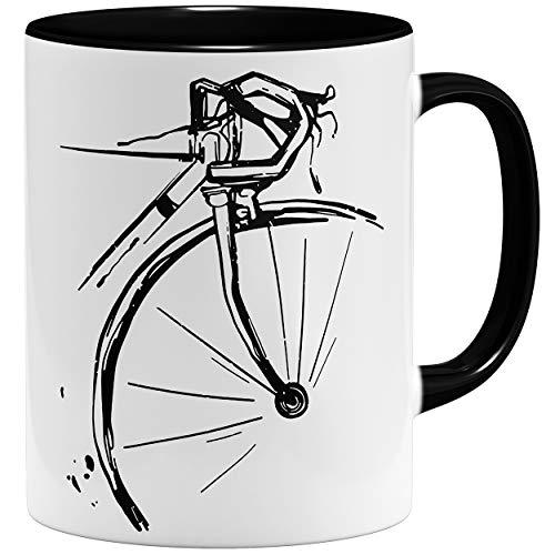 OM3® Retro Fahrrad Radler Bike Rad Tasse | Keramik Becher | 11oz 325ml | Fun Bicycle Fahrradfahrer | Schwarz