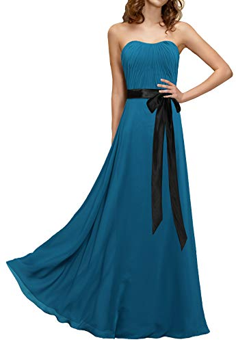 ANTS Women's Strapless Pleat Chiffon Long Prom Dresses with Black Sash Size 12 US Teal Blue