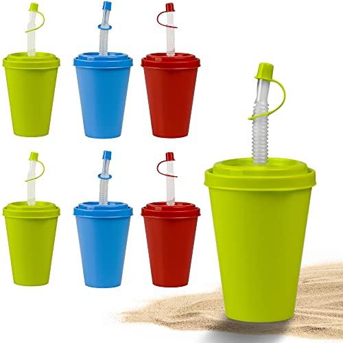 Set di bicchieri con cannuccia e coperchio Hausfelder - bicchieri di plastica riutilizzabili con coperchio da 400 ml per bambini e adulti