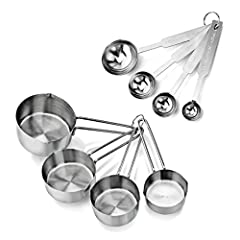 Stainless steel measuring cups and spoons set Measuring cups: 1 cup, 1/2 cup, 1/3 cup, and 1/4 cup Measuring spoons: 1 tbsp., 1 tsp, 1/2 tsp, 1/4 tsp Engineered for precision accuracy to assure consistency in food preparation Set nests for storage an...