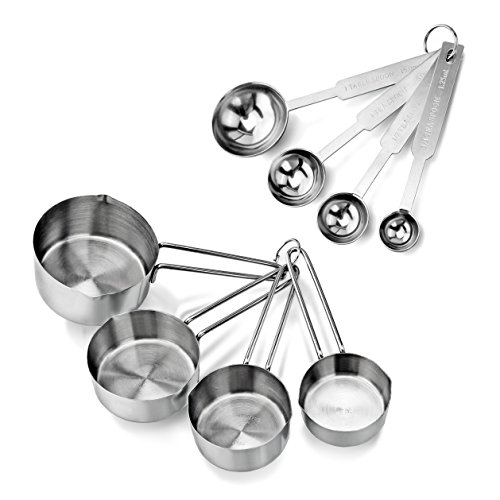 Stainless Steel Measuring Spoons and Measuring Cups Combo, Set of 8