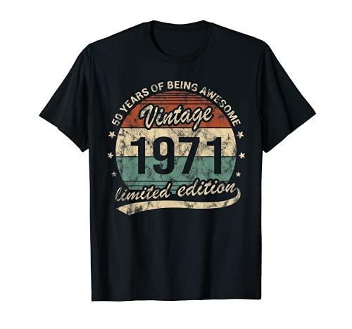 Nacido 1971 50 Años Cumpleaños Hombre Mujer Awesome Camiseta