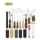 JFZS 18PCS Kit De Gravure sur Cuir Outils Et Fournitures en Cuir Fournitures De Kits De Travail en Cuir pour Couture Poinçonnage Coupe Couture