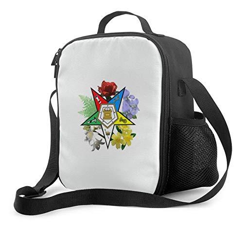Lawenp Eastern Star Bolsa de almuerzo con aislamiento floral, bolsa de almuerzo plana a prueba de fugas con correa para el hombro para hombres y mujeres, adecuada para el trabajo y la oficina