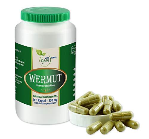 VITAIDEAL VEGAN® Wermut (Artemisia absinthium) 90 pflanzliche Kapseln je 350mg, rein natürlich ohne Zusatzstoffe.