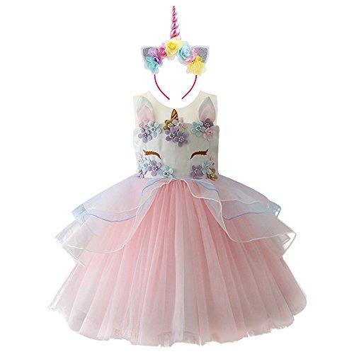 IWEMEK Niña Princesa Vestido Unicornio Disfraz de Cosplay para Fiesta Carnaval Bautizo...