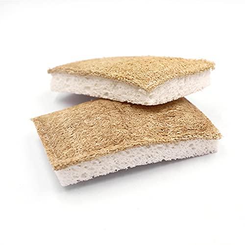 Nachhaltiger Luffa Küchenschwamm [3er Set, Dick] - 100% biologisch abbaubar, ökologisch, waschbar, plastikfrei