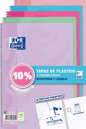 Pack de 5 Cuadernos Oxford Cuadriculados Tapa de Plástico
