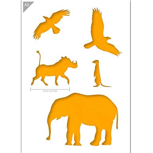 QBIX Afrikanische Tiere Schablone - Elefanten - Warzenschwein - Erdmännchen - Vogel - A5 Größe - Wiederverwendbare kinderfreundliche DIY Schablone zum Malen, Backen, Basteln, Wand, Möbel