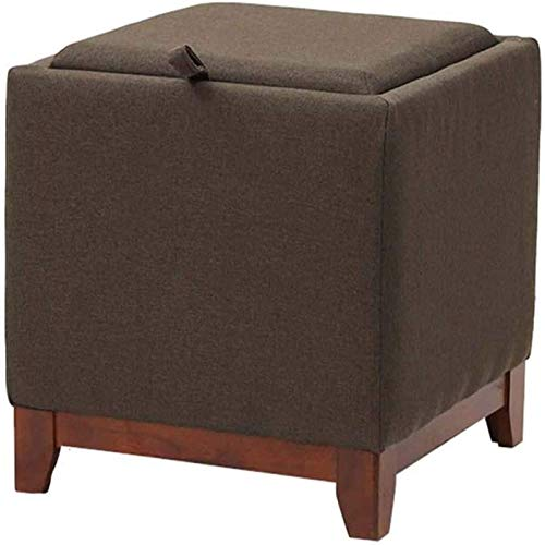 GCE Footstool pouf with storage compartment square footrest soft upholstered footrest solid wood feet sofa coffee table footstool (color: coffee)