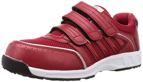[コーコス信岡] 安全作業靴 先芯入り マジックタイプ 多機能モデル 耐滑 軽量 ジプロア メンズ レッド 25 cm 4E