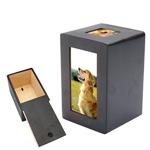 Tutoy Pet Dog Cat Cremation Urn Memorial Halten Sie Sake friedliche Fotobox Rechteck schwarz