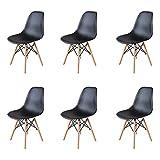 EGOONM Lot de 4/6 chaises Blanc/Noir Design Bois Chaise de Salle à Manger (6-Noir)