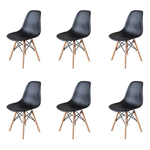 GrandCA HOME Set di 4/6 Sedie,Sedie da Pranzo Sedia da Ufficio Design Nordico Sedia in Stile retrò (Nero-6)