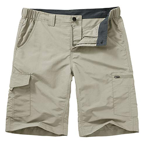 Hiking Shorts for Men Cargo Casual Quick Dry Lightweight Stretch Waist Outdoor Fishing Travel Shorts (6228 Light Apricot, 36)