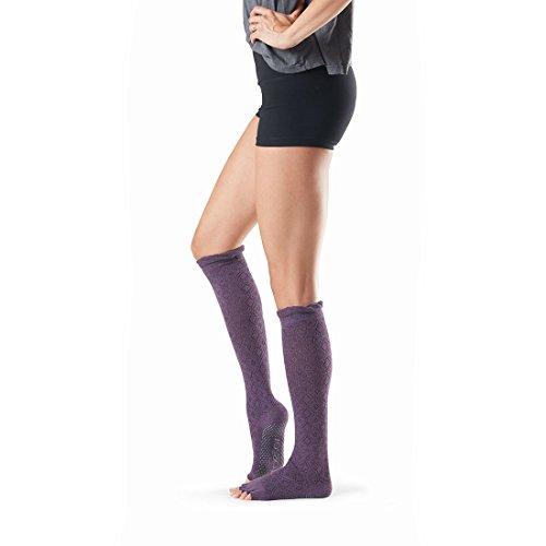 Toesox Calcetines de yoga unisex Ht hasta la rodilla, color berenjena, tamaño mediano