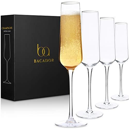 Crystal Champagne Flutes set of 4 - Elegant Lead-Free Crystal Champagne...