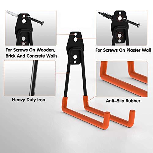 Intpro 12pack Steel Garage Storage Utility Double Hooks Organizer Heavy Duty Wall Mount Tool Holder for Organizing Power Tools Ladders Bulk Items