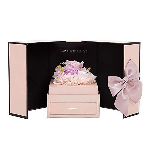 YJF-YSH Ewige Blumenrosen Konservierte Blumen Doppeltür Hochwertiges Schmuckkästchen Romantische Valentinstag Kreative Geschenke,Lila