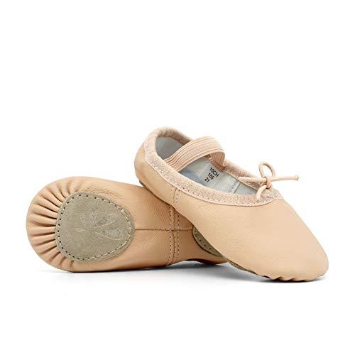 DANCEYOU Balletschläppchen Rosa Ballettschuhe aus Leder Mädchen Tanzschuhe mit Geteilte Sohle für Damen und Kinder 205 EU32