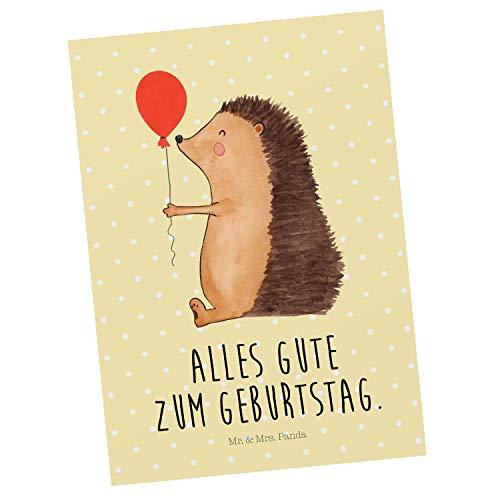 Mr. & Mrs. Panda Karte, Einladung, Postkarte Igel mit Luftballon mit Spruch - Farbe Gelb Pastell