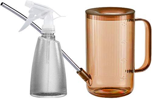 La botella de riego de acero inoxidable de 500 ml se utiliza para regar plantas de interior y exterior, suculentas, flores (1 l verde), marrón y negro
