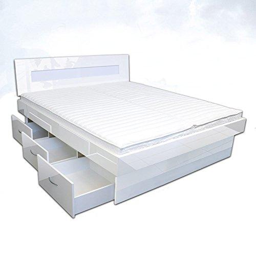 SONDERAKTION bellvita silverline Wasserbett mit Soft-Close Schubladensockel & Bettumrandung inkl. Lieferung & Aufbau durch Fachpersonal, 180cm x 200cm (Hochglanz weiß)