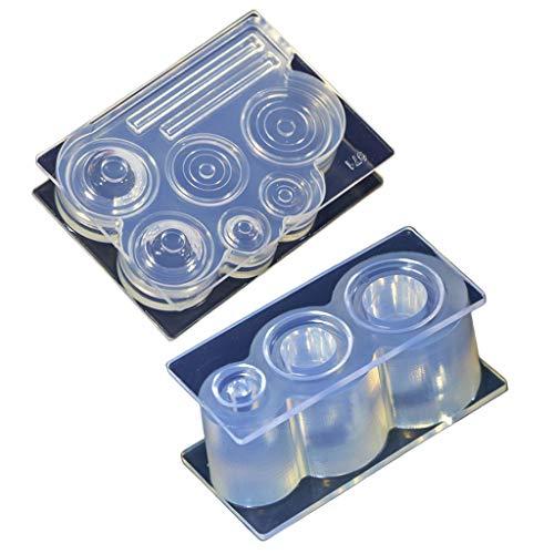 Yushu Molde de silicona hecho a mano de resina artesanías decorativas DIY hueco botella taza UV cristal epoxi moldes artesanales joyería almacenamiento placa molde herramientas decoración del hogar