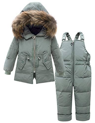 Zoerea Tute da Neve per Bambino Invernale Piumino Cappotto con Coulisse Design in Cintola Bambina Giacca Snowsuit con Cappuccio e Pantaloni da Sci 2 Pezzi