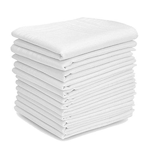 TOSKATOK® White 12 pack 100% Cotton Mens Handkerchiefs 44x44cm