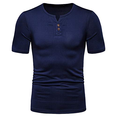 Camisa Polo Hombre Camiseta Básica Ajustada Hombre Camiseta Casual con Cuello En V Tapeta Hombre Manga Corta Color Sólido Camisa Deportiva Clásica Verano Hombre Tshirt C-Blue XXL