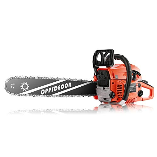 OppsDecor Gas Chainsaw 62CC Gasoline Powered Chainsaw 20 Inch 2 Stroke Handheld Petrol Chain Saw with Tool Kits for Cutting Trees, Wood, Farm Garden Courtyard Use(Bright Orange)