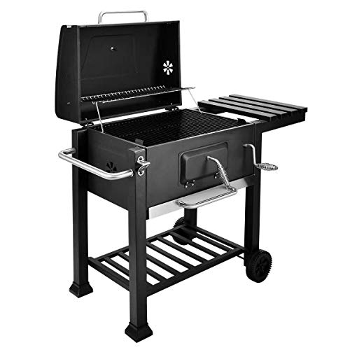 Gr8 Garden Large Charcoal Big Square BBQ Grill Cart Trolley Barbecue Outdoor Patio Portable With Lid Wheels