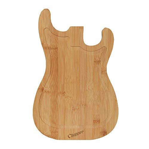 mikamax - Gitarren Schneidebrett - Holz farbe - Groß - Fleischerblock - Gemüse schneiden