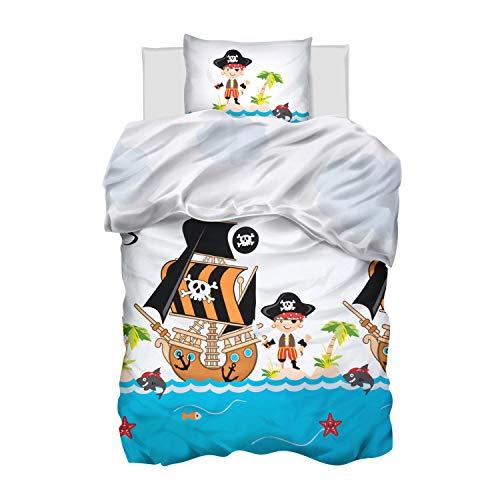 Aminata Kids Kinderbettwäsche 135x200 Pirat Piraten-Motiv Junge - Baumwolle blau, weiß - mit Reißverschluss, Kinder-Bettwäsche-Set weich, kuschelig, Piratenschiff, Piratenschatz, Flagge, Pirates
