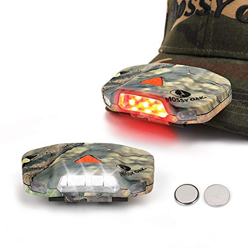 Mossy Oak Cap Hat Light, 8 LED Rotatable Hands-Free Clip-on Hat Light, Lightweight Ball Cap Visor Light, 2 Pack, 3 Modes - for Dog Walking, Running, Reading, Camping, Fishing
