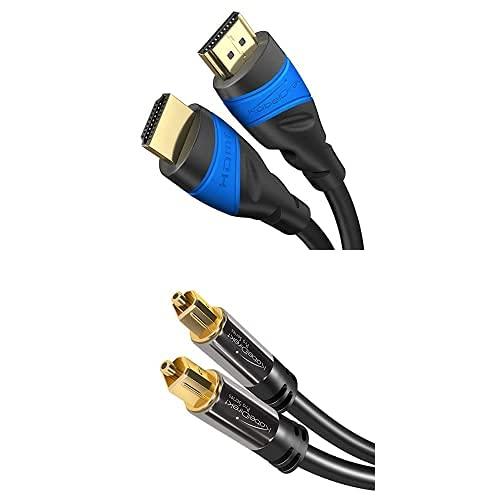 KabelDirekt Bundle, 1 m, Cable HDMI 4K (4K@120Hz y 4K@60Hz, High Speed con Ethernet, HDMI 2.0) y cable óptico/cable TOSLINK de 3 m (cable óptico digital TOSLINK a TOSLINK, cable de audio)