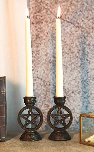 Ebros Set of 2 Wicca Celestial Pentagram Pentacle Stars Encased in Circle of Life Symbol Taper Candle Or Cone Incense Holders with Celtic Knotwork Design Wiccan Paganism Decorative Figurine