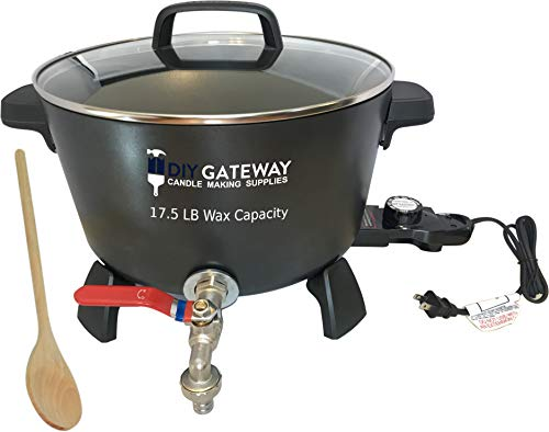 Wax Melter for Candle Making + Stirring Spoon: Extra Large 17.5 LB Wax Capacity Electric Wax Melting Pot with Quick-Pour Spout & Free Ebook