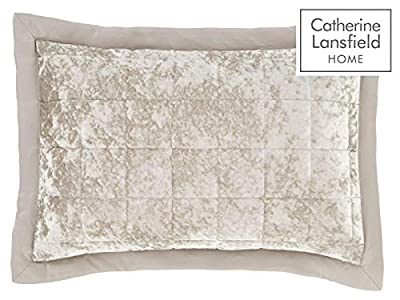 Catherine Lansfield Crushed Velvet Pair Pillow Shams, Natural or Silver