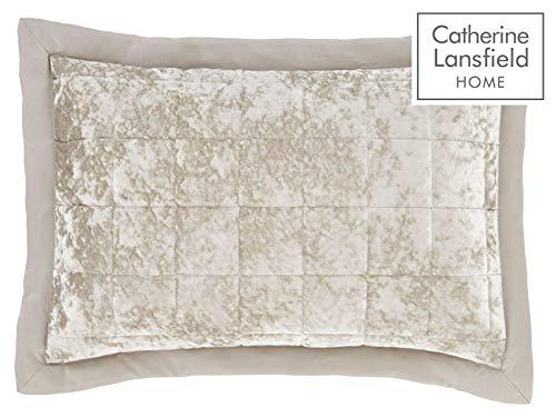 Catherine Lansfield – 2 Kissen aus Knautschsamt-Imitat – Polyester, Polyester, Natur, 29 x 8 x 29 cm