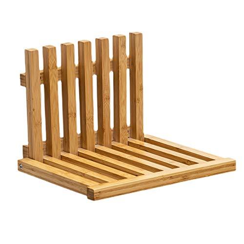 PEIHAN Banco de Asiento de Ducha Plegable Moderno de bambú, Revestimiento Transparente,...