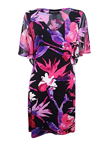 Connected Apparel Womens Petites Floral V-Neck Sheath Dress Pink 8P
