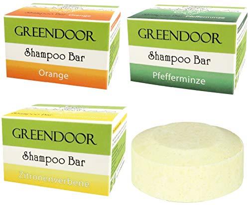 Spar-Set Greendoor Shampoo Bar VITAL, 3 Sorten, 3 x 75g, festes Haarshampoo ohne Sulfate, Naturkosmetik Bio Brokkolisamenöl, Bio Shea, Aloe Vera, Natur solid Shampoo, natürliche Haar-pflege Haare