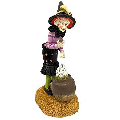 Estatuilla de Halloween de resina de bruja con gato negro, estatuas de mesa de 6.18 pulgadas, mini juguete, adornos de escritorio, decoración para repisas, estantes e interiores, exteriores, decoracio